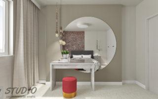 projekt sypialnia toaletka